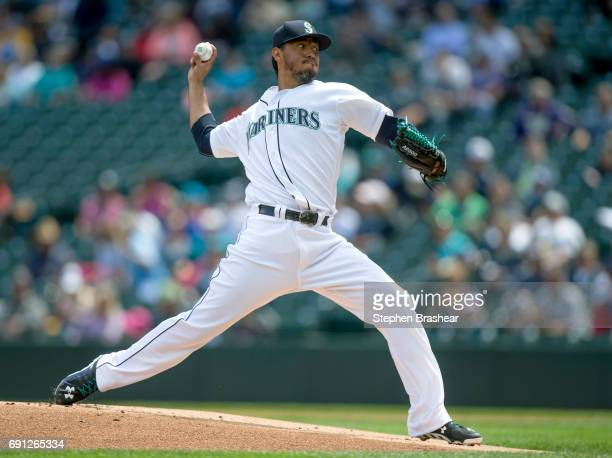 Starter Yovani Gallardo of the Seattle Mariners delivers a pitch during the first inning of a game against the Colorado Rockies at Safeco Field on...
