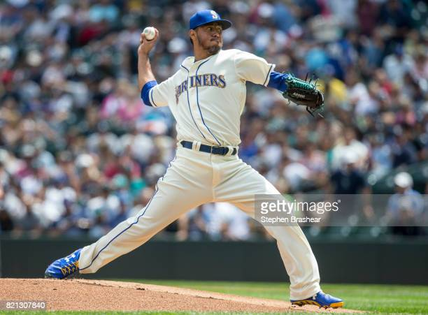 Starter Yovani Gallardo of the Seattle Mariners delivers a pitch during the first inning of a game against the New York Yankees at Safeco Field on...