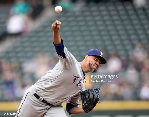 Starter Yovani Gallardo of the Texas Rangers delivers a pitch during the first inning of a game against the Seattle Mariners at Safeco Field on...
