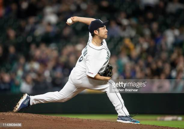 Starter Yusei Kikuchi of the Seattle Mariners delivers a pitch during the seventh inning of a game against the Oakland Athletics at TMobile Park on...