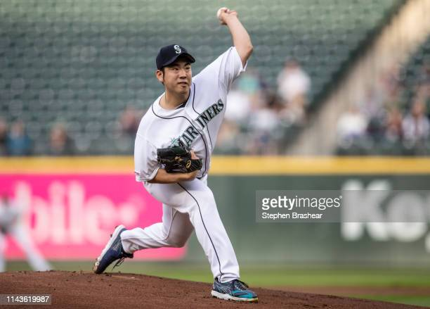Starter Yusei Kikuchi of the Seattle Mariners delivers a pithc during the first inning of a game against the Oakland Athletics at TMobile Park on May...