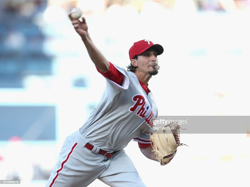 Starter Zac Eflin #56 of the Philadelphia Phillies throws a pitch in the first inning against the Los Angeles Dodgers at Dodger Stadium on April 29, 2017 in Los Angeles, California.