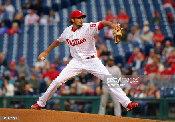 Starter Zach Eflin of the Philadelphia Phillies throws a pitch in the first inning during a game against the Colorado Rockies at Citizens Bank Park...