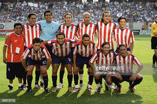 Starters of Chivas De Guadalajara pose for a photo before a friendly match against Real Madrid on July 16 2005 at Soldier Field in Chicago Illinois...