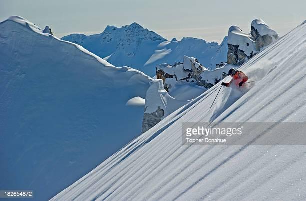 Starting a 6000 foot ski run.