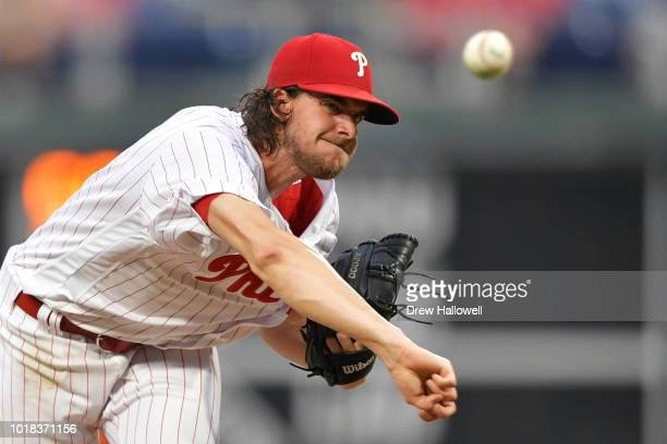 Starting Aaron Nola of the Philadelphia Phillies delivers a pitch in the fourth inning against the New York Mets at Citizens Bank Park on August 17...