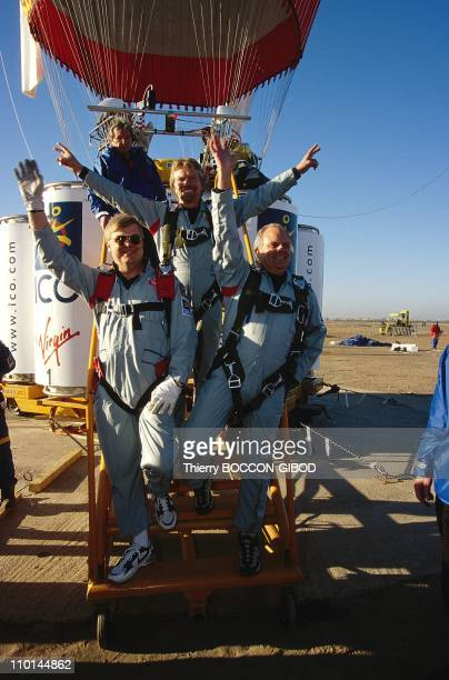 Starting around the world in a balloon flight of Ico global challenge in Marrakech Morocco on December 18 1998 Branson Fossett and Lindstrand