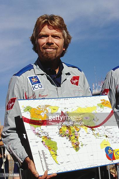 Starting around the world in a balloon flight of Ico global challenge in Marrakech Morocco on December 18 1998 Branson with map of the 'ideal route'