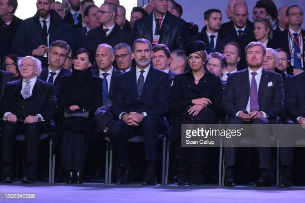 Starting at second seat, Queen Letizia of Spain, King Felipe of Spain, Queen Maxima of the Netherlands and King Willem of the Netherlands attend the...