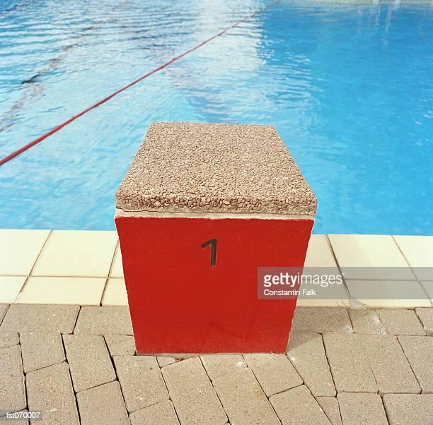 A starting block at a swimming pool
