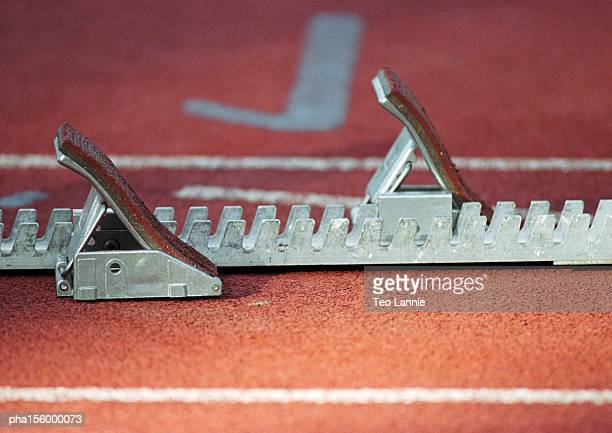 Starting block on track, close-up