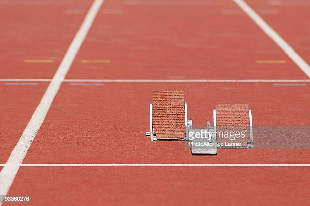 Starting blocks on running track