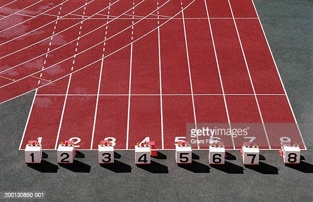 Starting blocks on track, elevated view