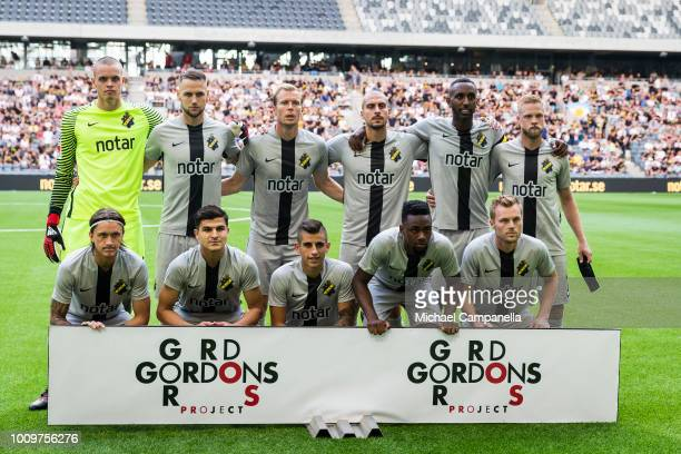 Starting eleven for AIK during a UEFA Europa League second qualifying round match between AIK and FC Nordsjaelland at Tele2 Arena on August 2 2018 in...