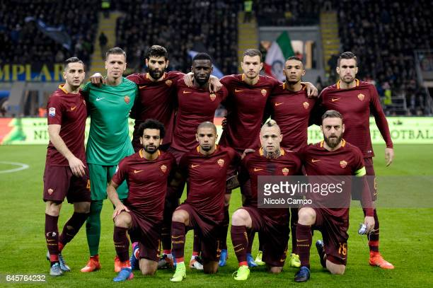 Starting eleven of AS Roma pose for a photo before the Serie A football match between FC Internazionale and AS Roma AS Roma wins 31 over FC...