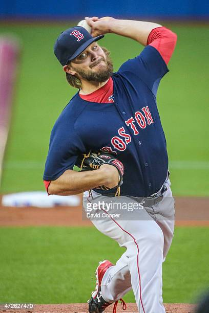 Starting for Boston Wade Miley throws from the mound during the game between the Toronto Blue Jays and the Boston Red Sox at the Rogers Centre May 8,...