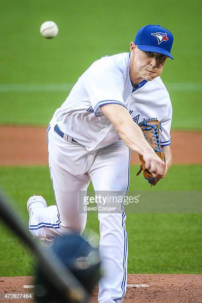 TORONTO ON MAY 8 Starting for the Blue Jays Aaron Sanchez throws from the mound during the game between the Toronto Blue Jays and the Boston Red Sox...