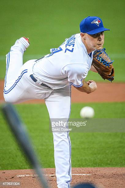 Starting for the Blue Jays Aaron Sanchez throws from the mound during the game between the Toronto Blue Jays and the Boston Red Sox at the Rogers...