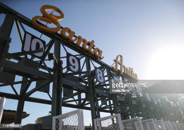 A starting gate stands outside the track on the final day of the winter/spring horse racing season at Santa Anita Park on June 23 2019 in Arcadia...