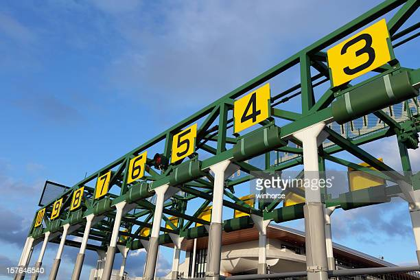 starting gate that has number in yellow boards - horse racing stock pictures, royalty-free photos & images