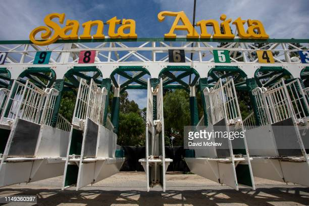 Starting gates are seen at Santa Anita Park race horse track on June 11 2019 in Arcadia California A second race horse in two days has died at the...