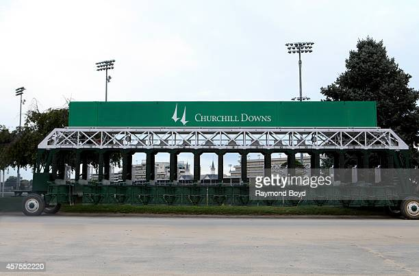 Starting gates sits outside Churchill Downs home of the Kentucky Derby on October 05 2014 in Louisville Kentucky