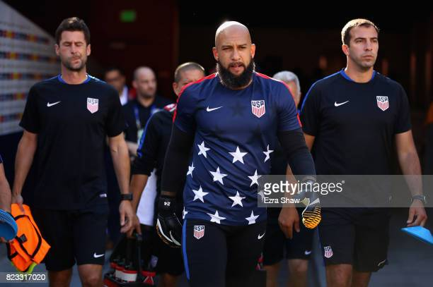 Starting goalie Tim Howard of the United States walks out to the field for warmups before their game against Jamaica in the 2017 CONCACAF Gold Cup...