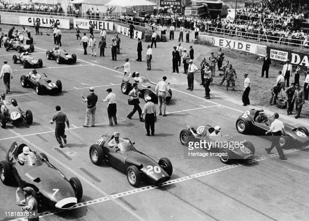 Starting grid,1958 British Grand Prix at Silverstone, Hawthorn in Ferrari number 1. Creator: Unknown.