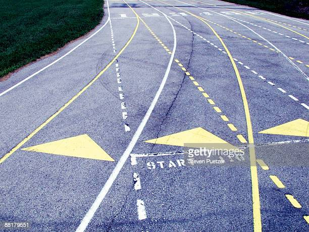 starting lanes on running track - the end stock pictures, royalty-free photos & images