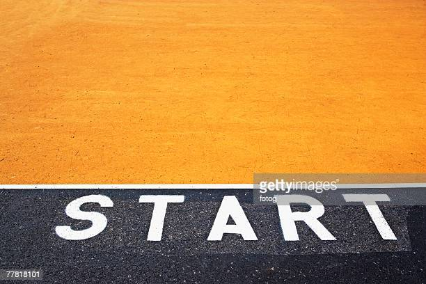 Starting line painted on asphalt