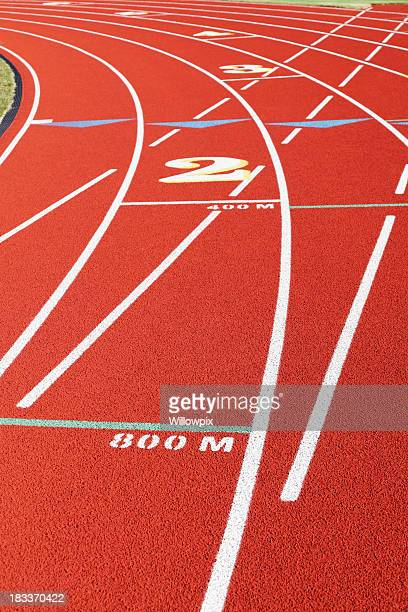 Starting Lines at Curve on Red Running Track