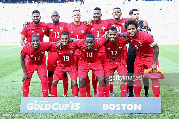 Starting lineup for Panama before the 2015 CONCACAF Gold Cup match between Honduras and Panama at Gillette Stadium on July 10 2015 in Foxboro...