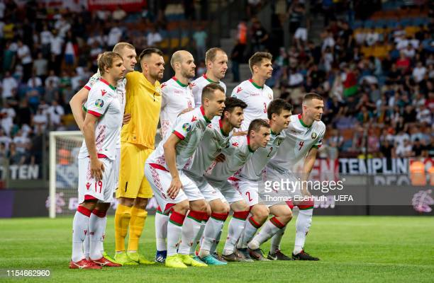 Starting lineup of team Belarus prior the UEFA Euro 2020 qualifier match between Belarus and Germany at Borisov-Arena on June 08, 2019 in Barysaw,...