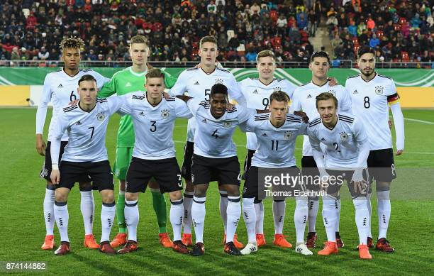 Starting lineup of team Germany prior the Under 20 International Friendly match between U20 of Germany and U20 of England at Stadion Zwickau on...