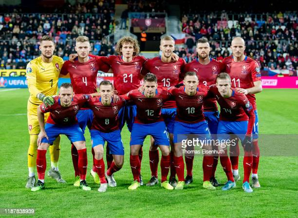 Starting lineup of the Czech Republic, background from left to right: Tomas Vaclik, Jakub Brabec, Alex Kral, Tomas Soucek, Ondrej Celustka and...