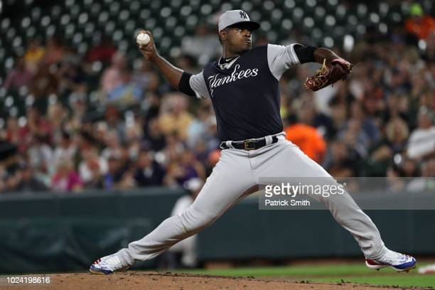 Starting Luis Severino of the New York Yankees works the first inning against the Baltimore Orioles at Oriole Park at Camden Yards on August 26 2018...