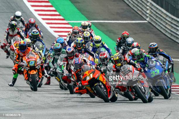 Starting period of Moto2 with Brad Binder of South Africa and Red Bull KTM Ajo in the lead Thomas Luethi of Switzerland and Dynavolt Intact GP and...