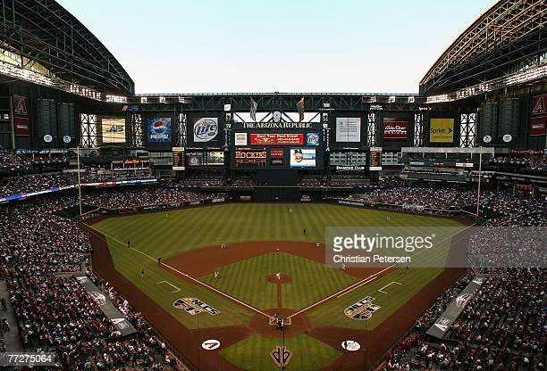 Starting picther Brandon Webb of the Arizona Diamondbacks throws the first pitch of Game One of the National League Championship Series against Willy...