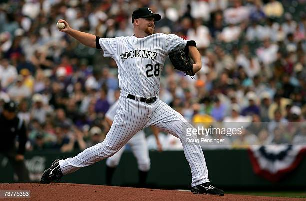 Starting pitcher Aaron Cook of the Colorado Rockies delivers to the Arizona Diamondbacks during Opening Day of Major League Baseball on April 2 2007...