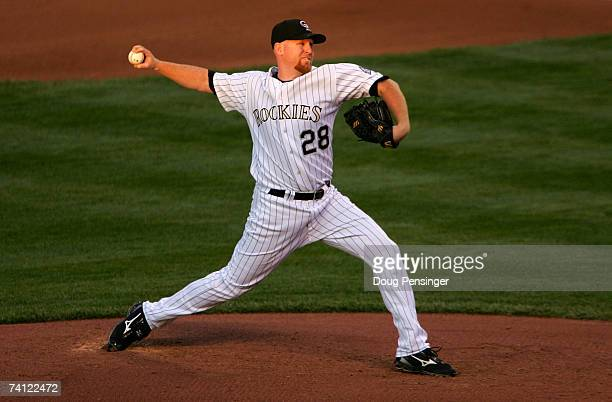 Starting pitcher Aaron Cook of the Colorado Rockies delviers against the San Francisco Giants at Coors Field on May 10 2007 in Denver Colorado