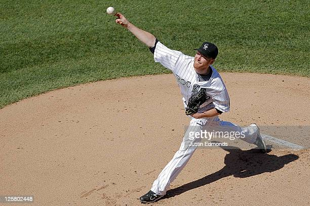 Starting pitcher Aaron Cunningham of the San Diego Padres works the first inning against the San Diego Padres at Coors Field on September 21 2011 in...