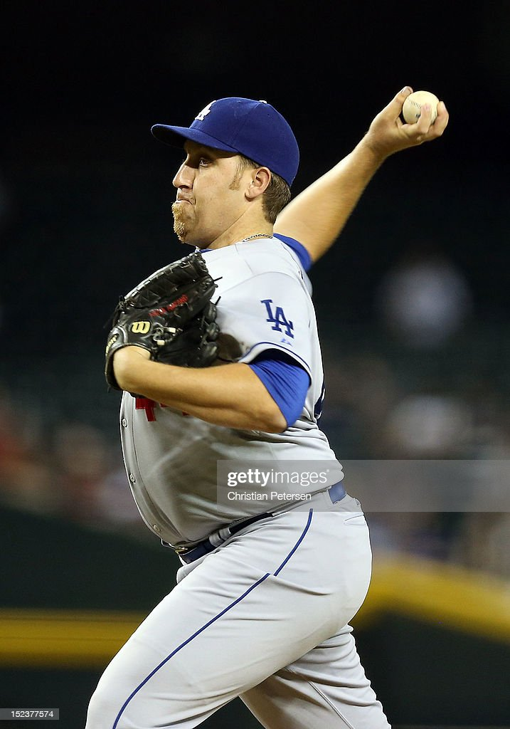 Starting pitcher Aaron Harang #44 of the Los Angeles Dodgers pitches against the Arizona Diamondbacks during the MLB game at Chase Field on September 12, 2012 in Phoenix, Arizona. The Diamondbacks defeated the Dodgers 3-2.