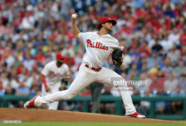 Starting pitcher Aaron Nola of the Philadelphia Phillies delivers a pitch in the first inning during a game against the Los Angeles Dodgers at...