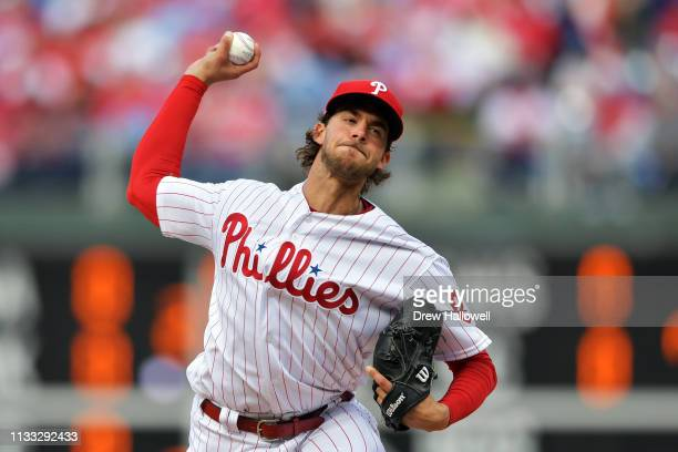 Starting pitcher Aaron Nola of the Philadelphia Phillies delivers a pitch in the fourth inning against the Atlanta Braves on Opening Day at Citizens...