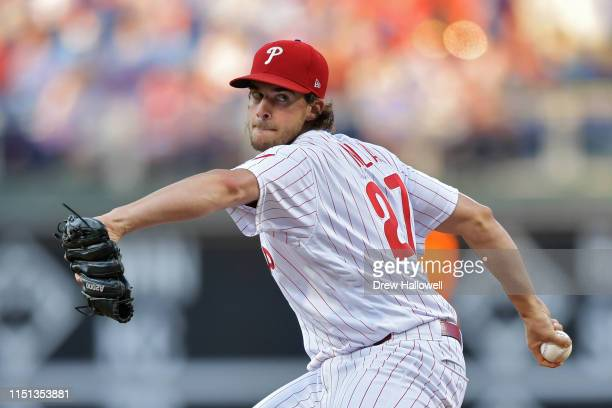 Starting pitcher Aaron Nola of the Philadelphia Phillies delivers a pitch in the second inning against the Miami Marlins at Citizens Bank Park on...