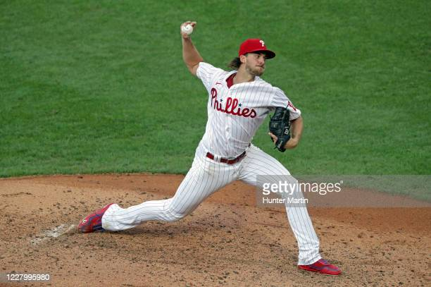 Starting pitcher Aaron Nola of the Philadelphia Phillies delivers a pitch in the third inning during a game against the Atlanta Braves at Citizens...
