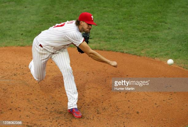 Starting pitcher Aaron Nola of the Philadelphia Phillies delivers a pitch in the second inning during a game against the New York Mets at Citizens...