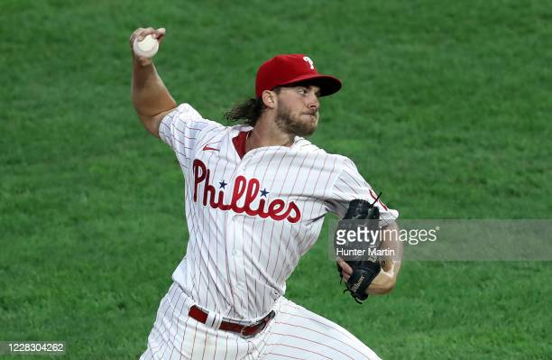 Starting pitcher Aaron Nola of the Philadelphia Phillies delivers a pitch in the second inning during a game against the Washington Nationals at...