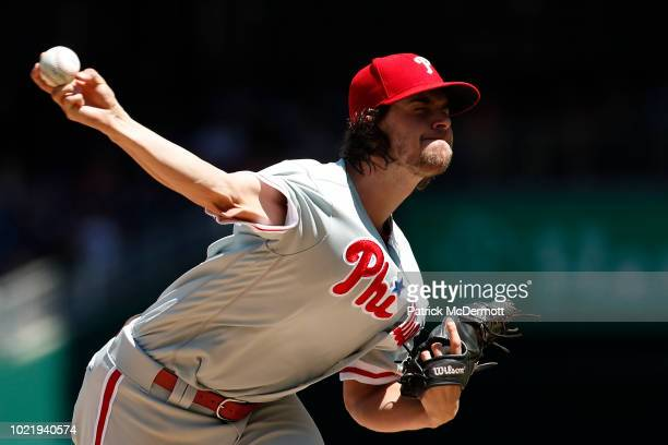 Starting pitcher Aaron Nola of the Philadelphia Phillies pitches in the first inning against the Washington Nationals at Nationals Park on August 23...
