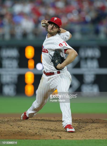 Starting pitcher Aaron Nola of the Philadelphia Phillies throws a pitch during a game against the Los Angeles Dodgers at Citizens Bank Park on July...